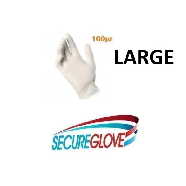 100 GUANTI SECUREGLOVE GUANTO IN LATTICE MONOUSO LARGE
